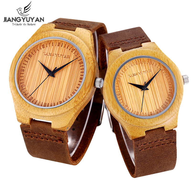 JIANGYUYAN Lovers' Eco Handmade Bamboo Wood Watch Antique Retro Brown Soft Genuine Leather Strap Wristwatch for Men Women Casual natural handmade bamboo watch novel life tree pattern display men women wooden wristwatch genuine leather strap new clock 2018