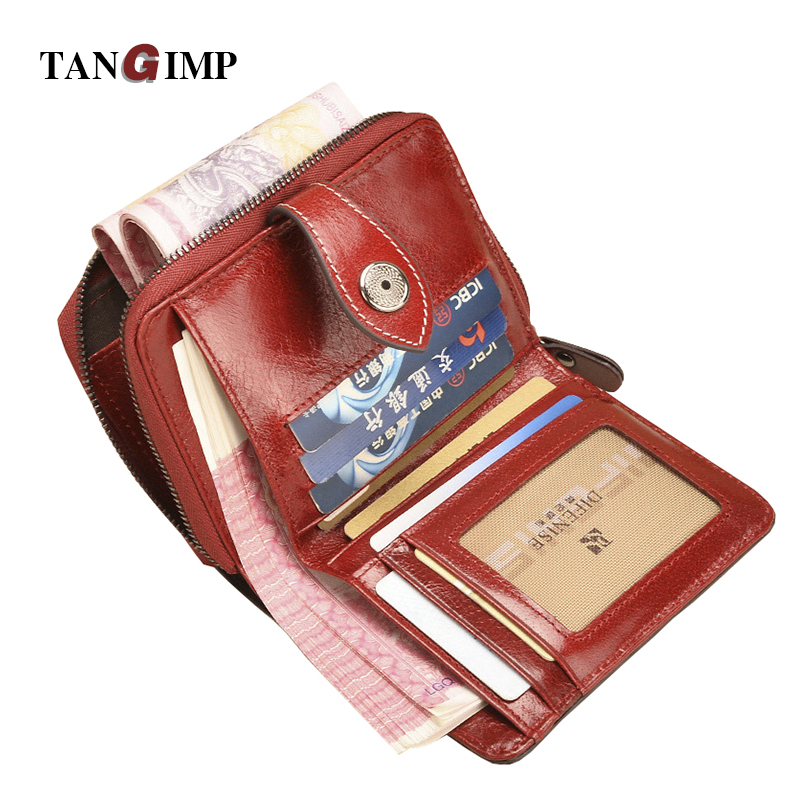 TANGIMP Vintage Genuine Real Leather Wax Women Short Wallets Coin Pocket Credit Card Female Purses Money Clip billetera mujer 100% wax oil cowhide vintage wallets female money clips real leather clutch wallet for women credit cards change purses 2014 new
