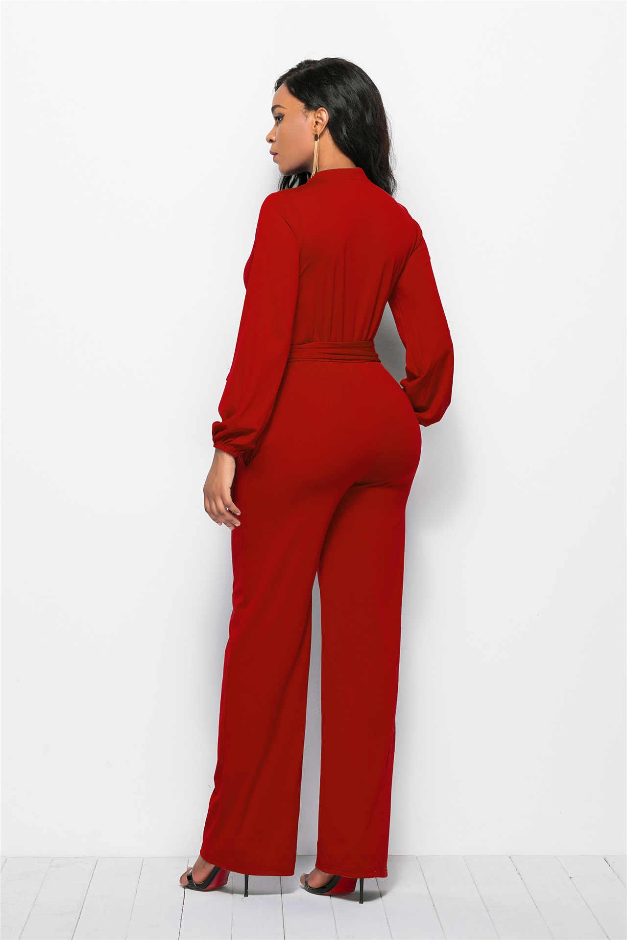 24e98690741e6 3XL Plus Size With Sashes Ladies Summer Long Sleeve Jumpsuits Women Formal  Jumpsuit Elegant Wide Leg Pants Jumpsuit Overalls