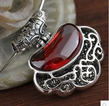 S925 sterling silver Thai silver jade pendants sterling silver garnet / opal necklace pendant retro female clavicle pendant