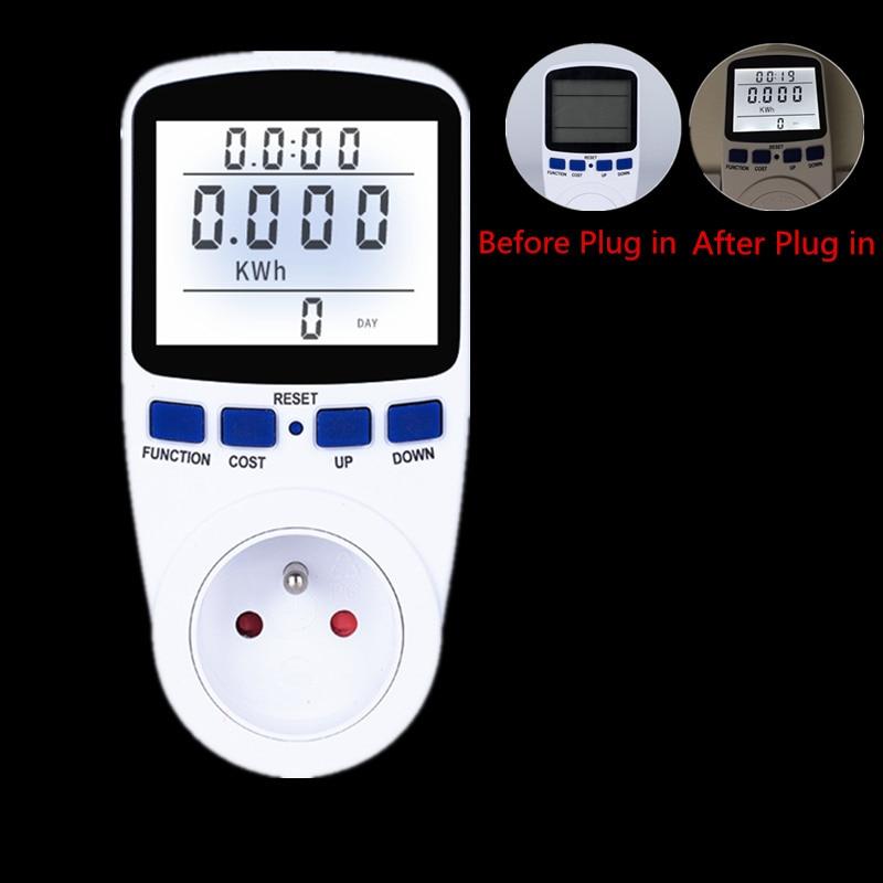 1pc Digital Wattmeter Energy Meter FR Plug Energy Analyzer Electronic Power Meter with Backlight Volt Voltage