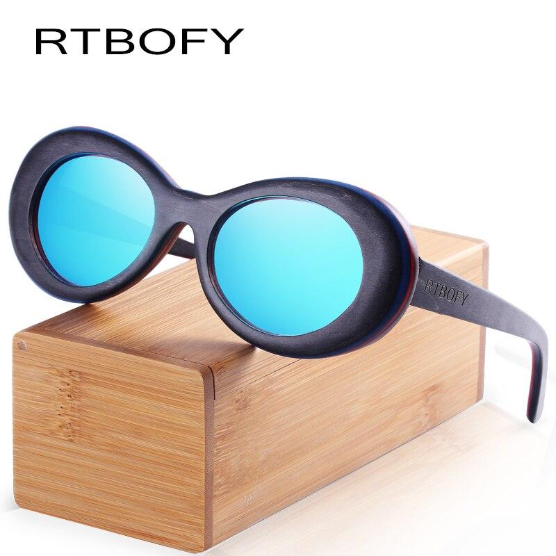 RTBOFY Wood Sunglasses for Men and Women Skateboard Wood Frame Shades Oval Shape Glasses.