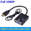 BrankBass HDMI to VGA Adapter Converter Cable HD 1080p with Audio for Laptop HDTV Projector DVD PS3