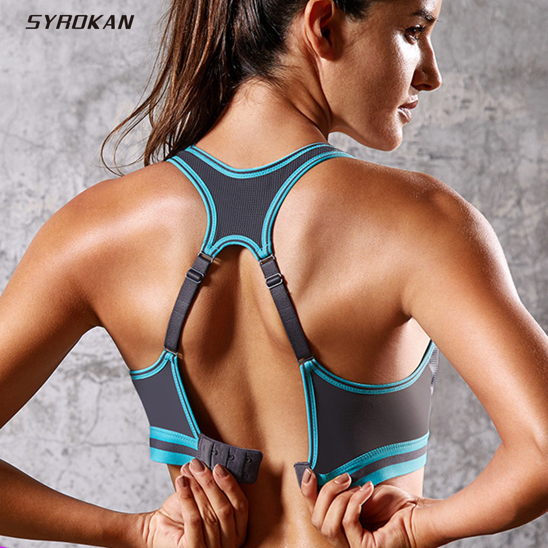 SYROKAN Women's High Impact Racerback Wire Free Workout Sports Bra