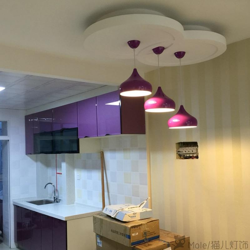 Pendant Lights Kitchen Island Lamps Modern Ceiling Lamp Purple Vintage Bar Wrought Aluminum Metal Lighting Fixtures For 1 Pic In From