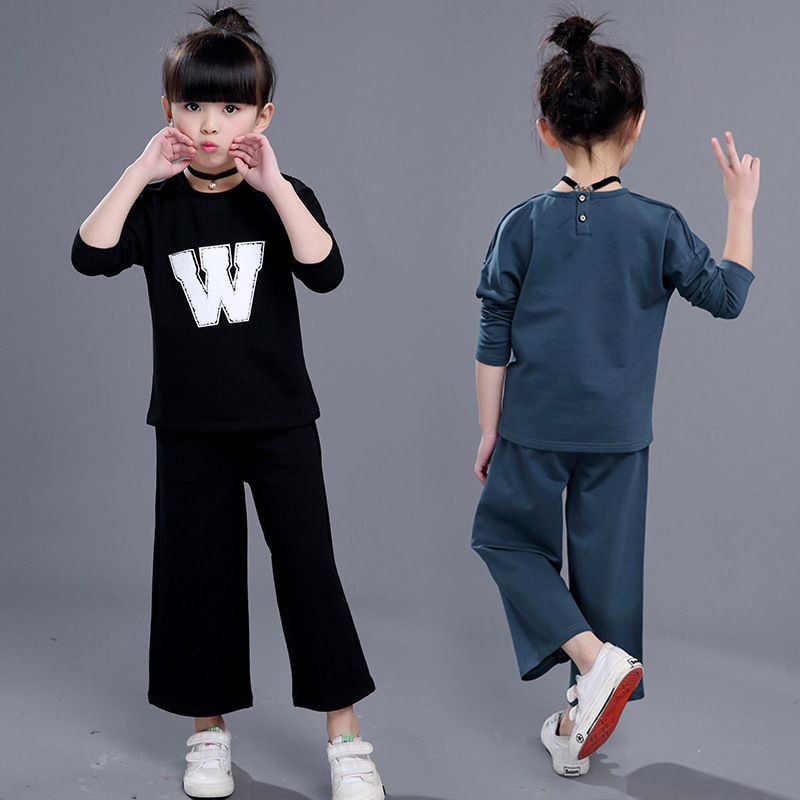 ФОТО Girls 2017 Korean version of children's fashion casual two-piece wide leg pants