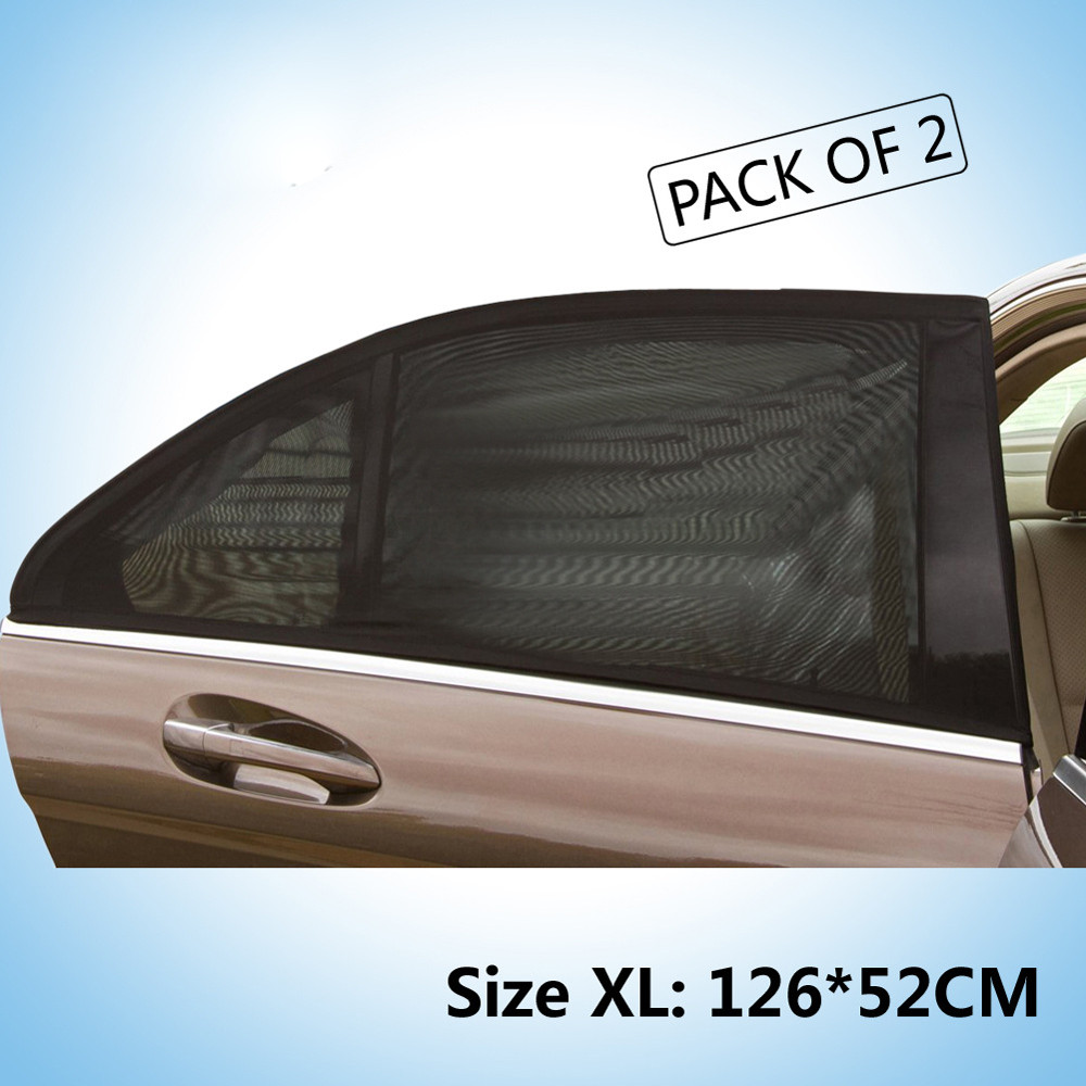 PACK OF 2 BLACK SUNSHADE CAR WINDOW UV MESH SUN SHADES BLIND KIDS BABY CHILDREN