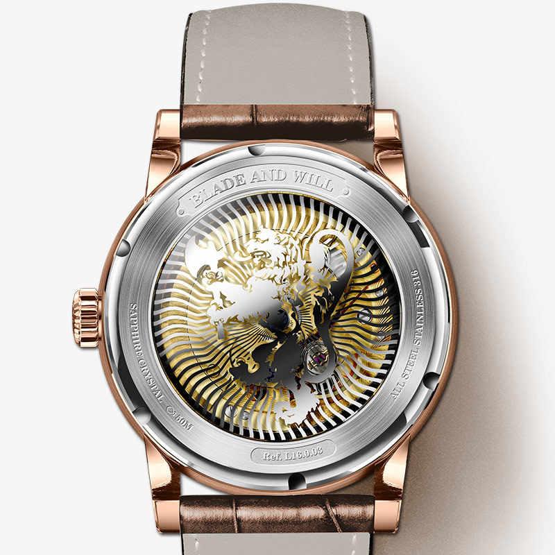 สวิตเซอร์แลนด์ LOBINNI นาฬิกาผู้ชายหรูหรายี่ห้อดวงจันทร์อัตโนมัติอัตโนมัติผู้ชาย Wirstwatches ไพลินหนัง Seagull