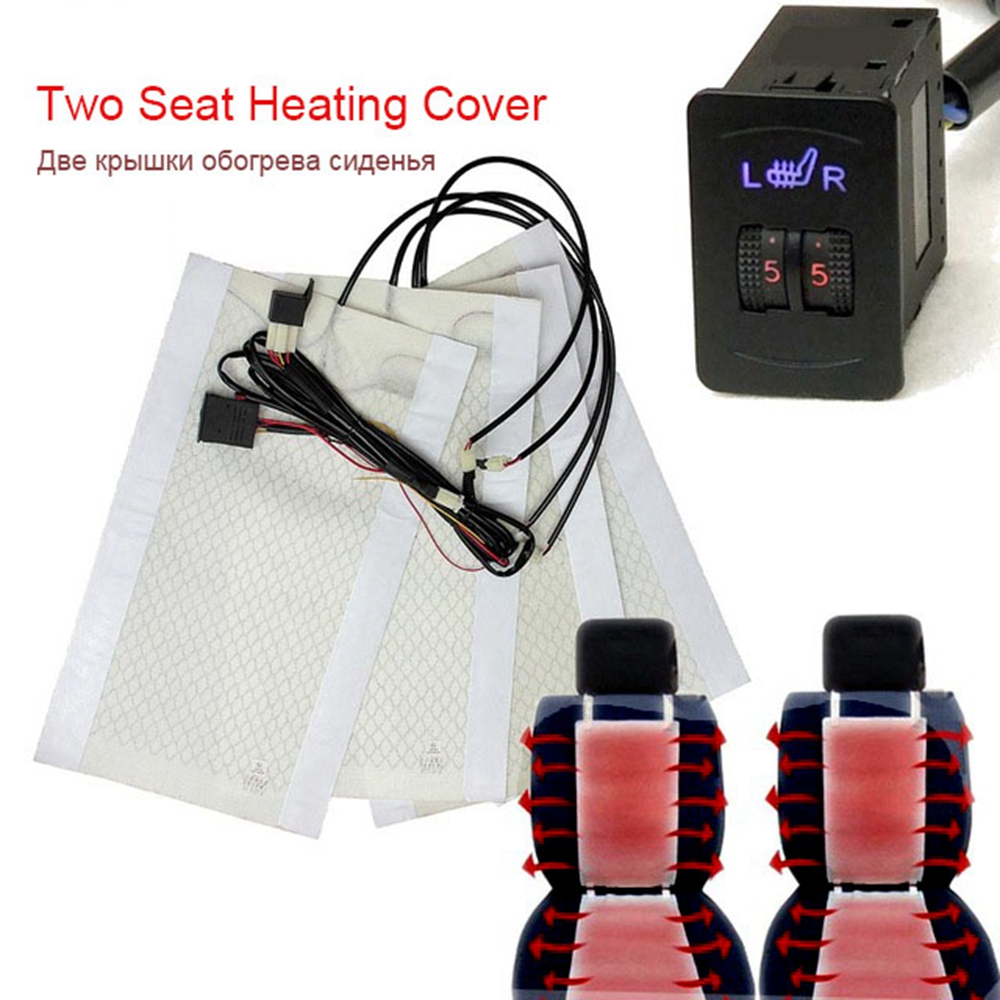<font><b>2</b></font> Seats 4 Pads Universal Carbon Fiber Heated Seat Heater <font><b>12</b></font> V Pads <font><b>2</b></font> Dial <font><b>5</b></font> Level Switch Winter Seat Covers car heated seat heat image