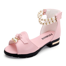 Red Pink White Baby Girl Shoes Kids Pearl Leather Princess dancing Party Un with heeled 3 4-15Years