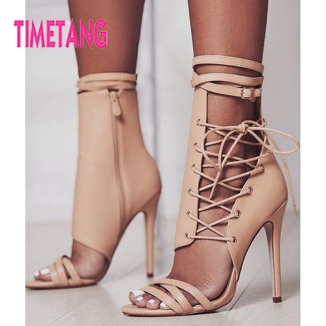 48cd20d709dc0d TIMETANG 2018 Summer Women Shoes Sexy Open Toe Ankle Strap Lace-up High  Thin Heel Rome Gladiator Woman Sandals Casual Party Shoe