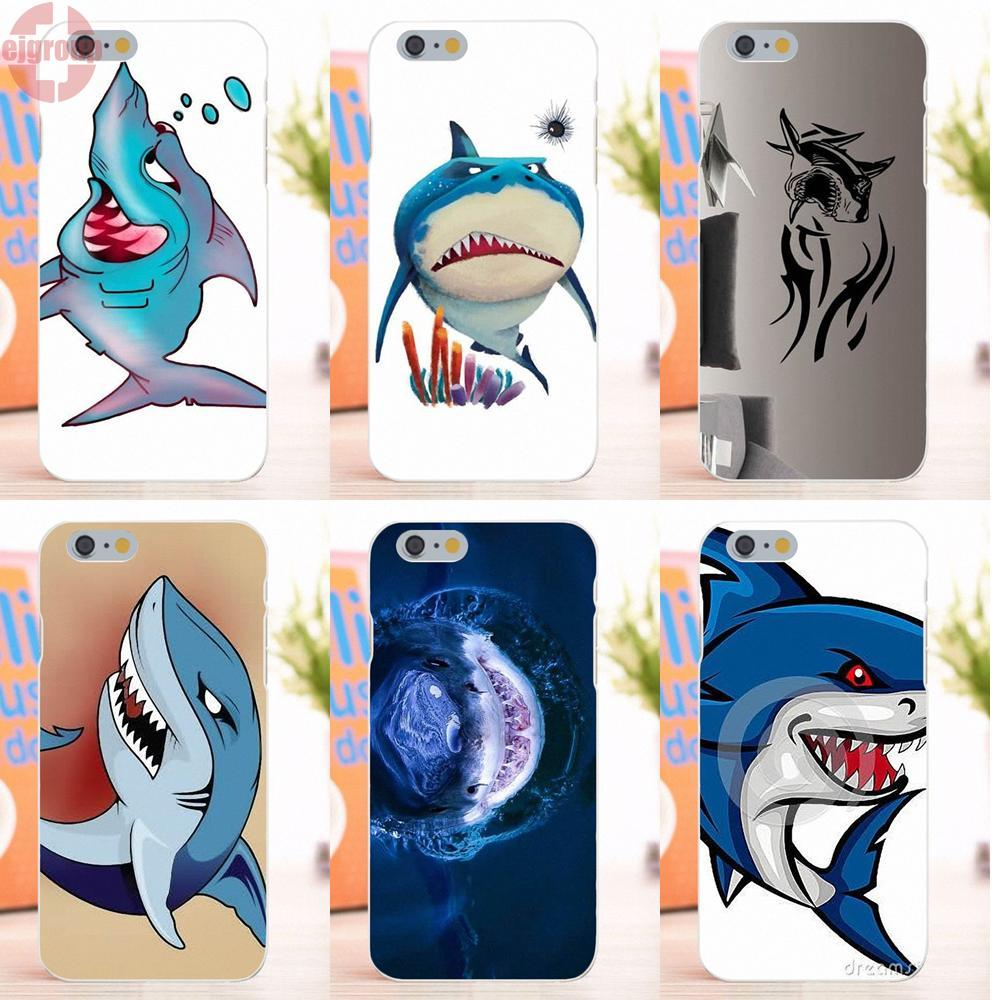 EJGROUP Angry Shark And Fish Bubbles Cartoon For Apple iPhone 6 6S 4.7 inch Soft TPU Silicon Cases Capa