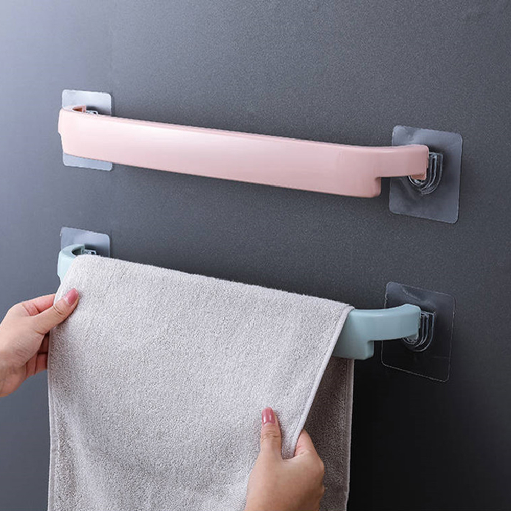 Self Adhesive Wall Mounted Holder For Bathroom Towel Bar Shelf Plastic Rack Toilet Roll Paper Hanging Hanger Useful Supply