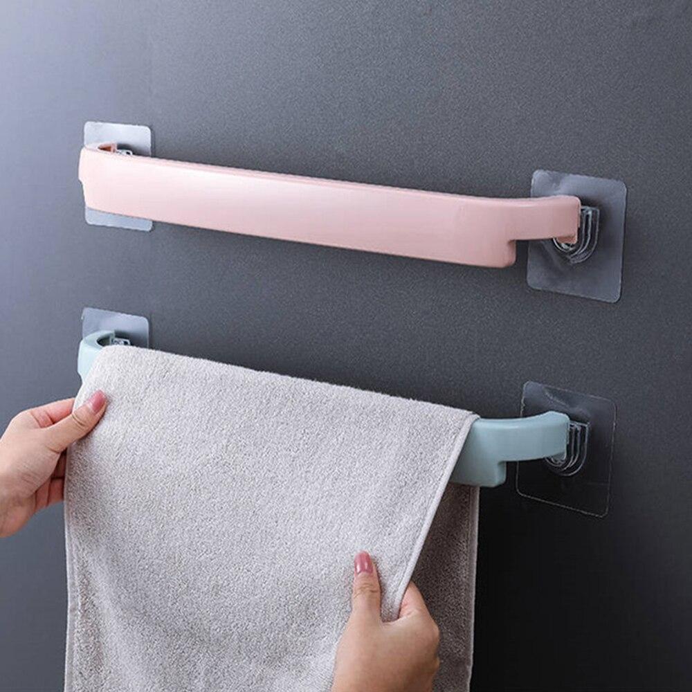 Self Adhesive Wall Mounted Holder For Bathroom Towel Bar Shelf Plastic Rack Toilet Roll Paper Hanging Hanger Useful Supply