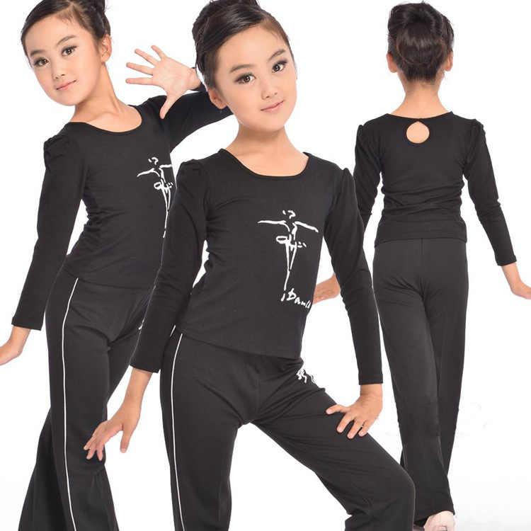 Костюм для латинских танцев для девочек осенний хлопковый топ с длинными рукавами + штаны 2 предмета для девочек, одежда для сцены и танцев