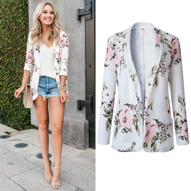 Autumn Winter Womens Flower Print Long Sleeve Blazer Coat Casual Style Slim Top 2019 Fashion Office Lady Clothes Hot Sale Female