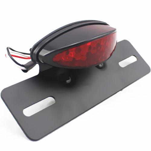 Red Motorcycle LED Brake Tail Light Black License Plate Holder Mount Dirt bike Cruiser Chopper Cafe Racer|  - title=