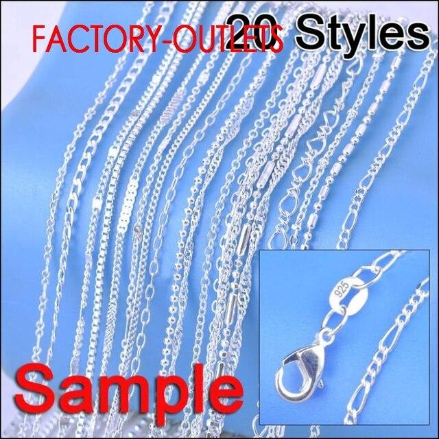 """Moda jóias 20 pçs 20 estilos diferentes 18 """"genuíno 925 colar de prata esterlina para a fábrica feminina preço mais barato"""
