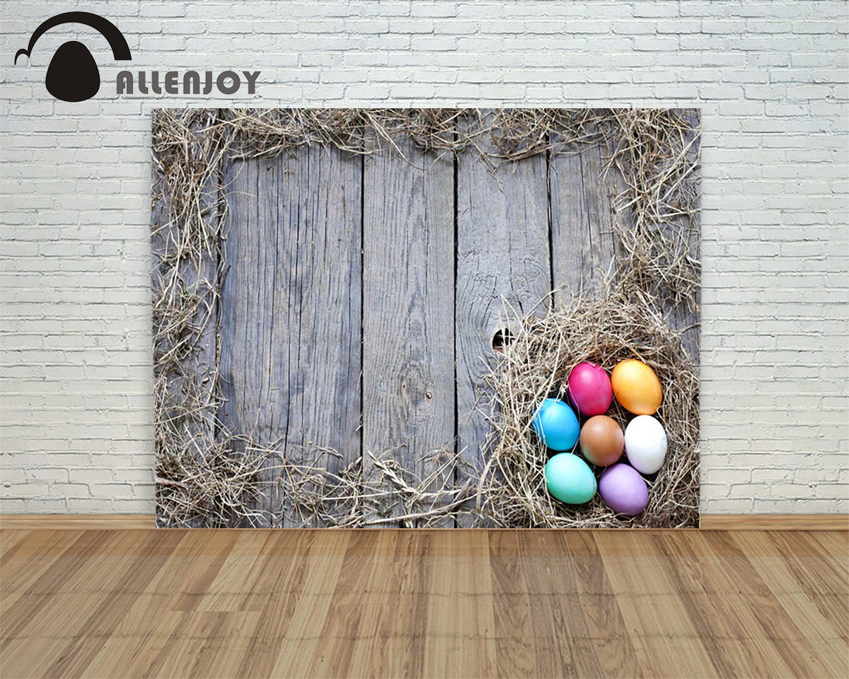 Allenjoy background Happy easter eggs wood yellow grass decorated children photography studio microphone