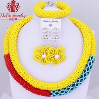 2018 Multicolor African Beads Jewelry Sets Sea Blue Yellow Red Fashionable Dubai Women Nigerian Jewelry Turkish Celebrity New
