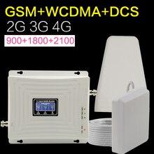 Amplificador de señal de teléfono móvil Europa GSM, WCDMA, DCS, LTE, 2g, 3g, 4g, 900, 1800, 2100 Mhz, antena de señal móvil de tres bandas