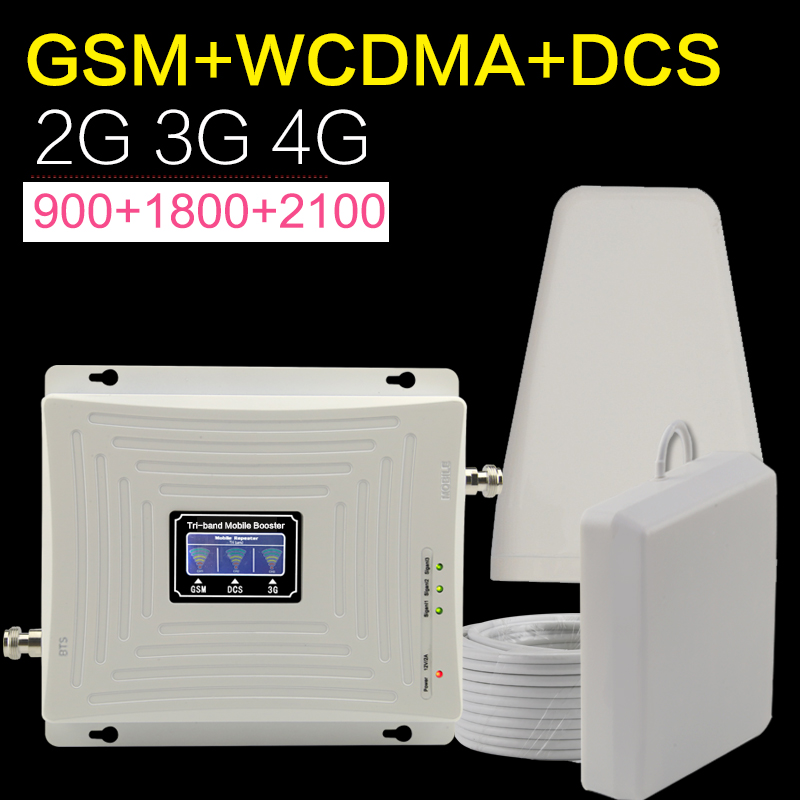 Europe GSM WCDMA DCS LTE 2g 3g 4g Cellular Cell Phone Signal Booster 900 1800 2100 Mhz Tri band Mobile Signal Booster Antenna-in Signal Boosters from Cellphones & Telecommunications    1