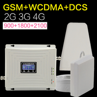 Europe GSM WCDMA DCS LTE 2g 3g 4g Cellular Cell Phone Signal Booster 900 1800 2100 Mhz Tri-band Mobile Signal Booster Antenna