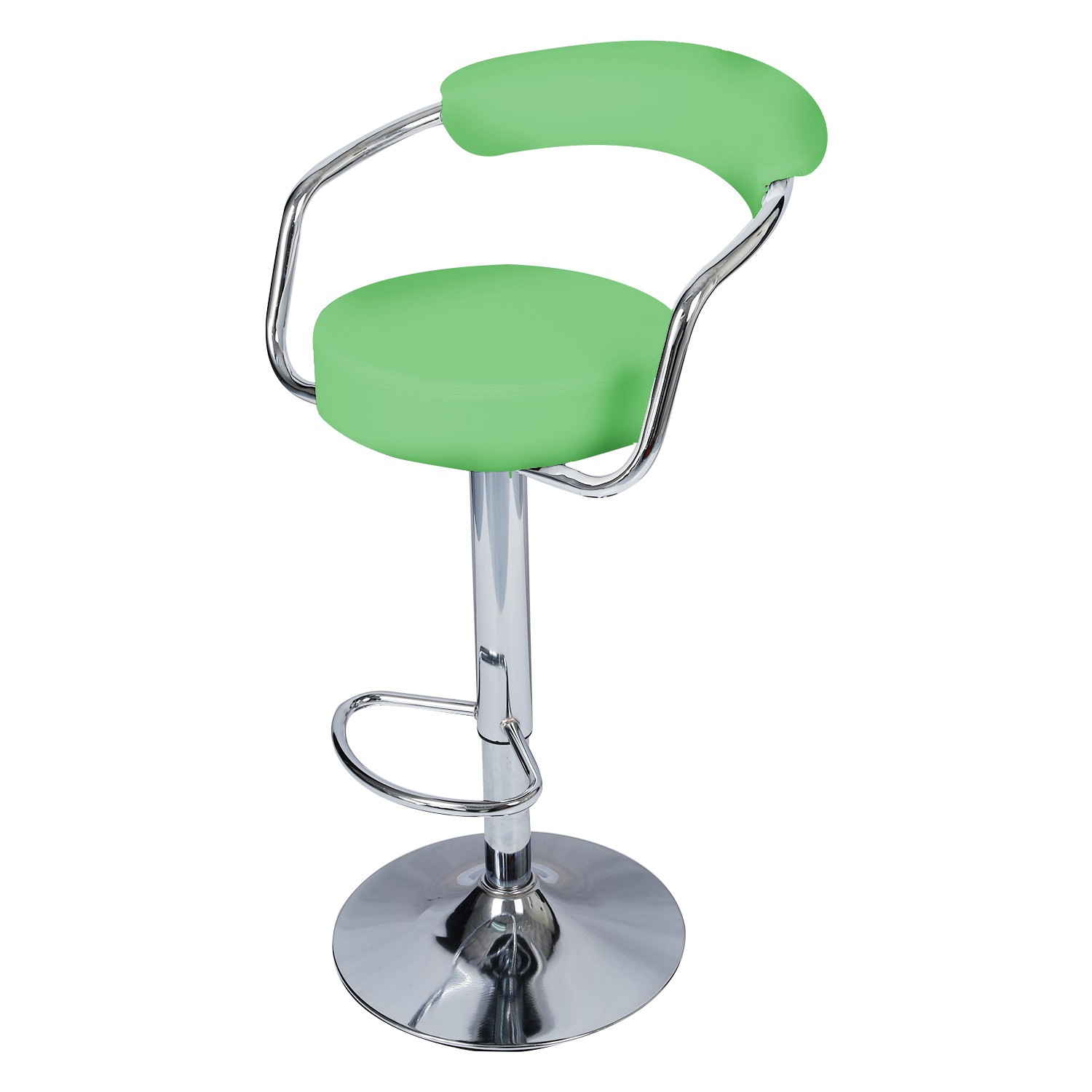 new concept f724d 29db7 NEW green Chrome Swivel Bar Breakfast Stools Chair Leather ...