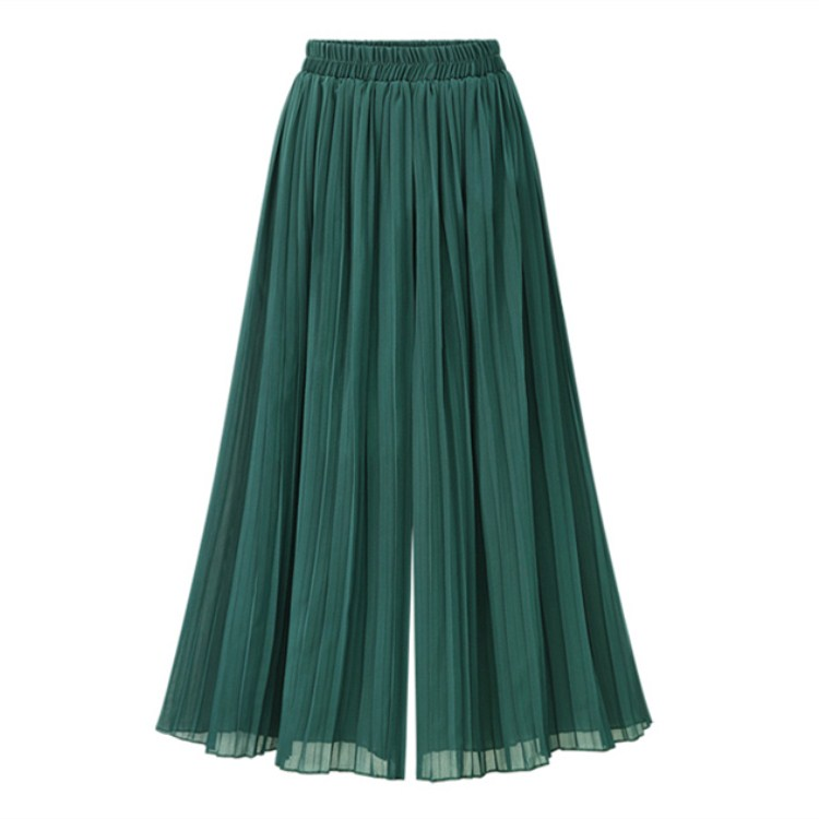 Vintage Boho Female Wide Leg   Pants   Nine Points Casual Pleated Green Trousers Loose Women Chiffon High Waist Summer   Pants