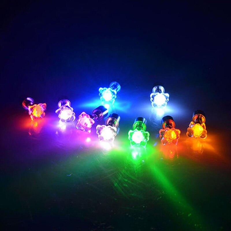 Светящиеся светодиодные серьги, горячие рождественские серьги-гвоздики, мигающие Серьги Из Нержавеющей Стали, серьги-гвоздики, аксессуары для танцевальной вечеринки, подарки