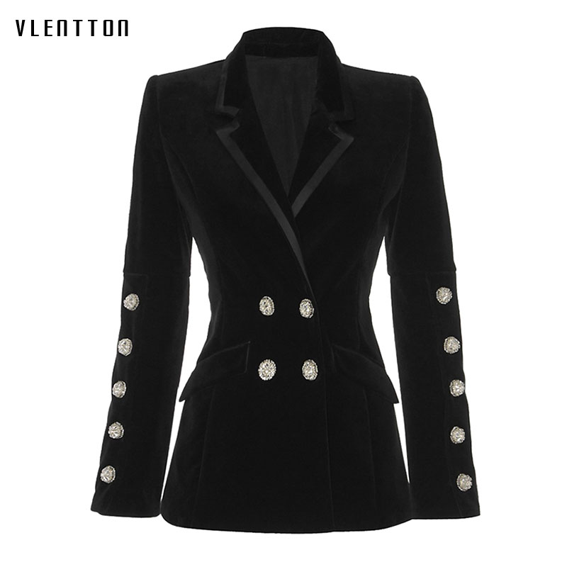 High Quality Long Blazer Woman Spring Autumn 2019 New Fashion Office Double Breasted Long Sleeve Slim Fit Black Blazer Feminino