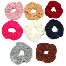 Fashion velvet Scrunchie Hair Accessories Striped hair rope Women Tail Wrap Rubber Bands Ponytail Holder Elastic ties