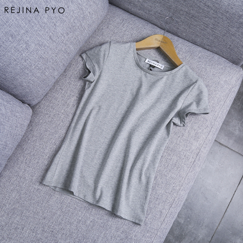 REJINAPYO 2019 Spring New Arrival Women Basic Solid Tees O-neck Female Cotton Wild   T  -  shirts   O-neck High Quality
