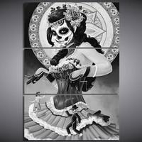 Diamond Painting 3 Pcs 5D DIY Diamond Embroidery Skull Woman Horror Halloween Cross Stitch 3D Diamond