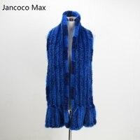 Jancoco Max S1566 Spessore lavorato a maglia Femmina Vera pelliccia di Visone sciarpa lunga Donna Inverno Collo Caldo Scialle di Alta qualità del Commercio All'ingrosso/vendita al dettaglio