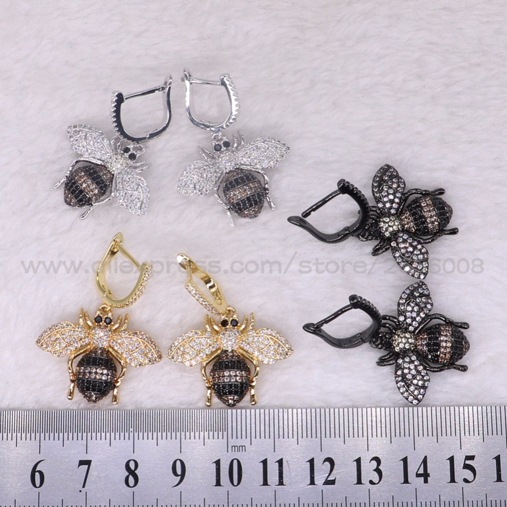 5 Pairs fashion Micro pave CZ  inset bugs earrings high quality beetles earrings bugs earrings Gift for lady 3067