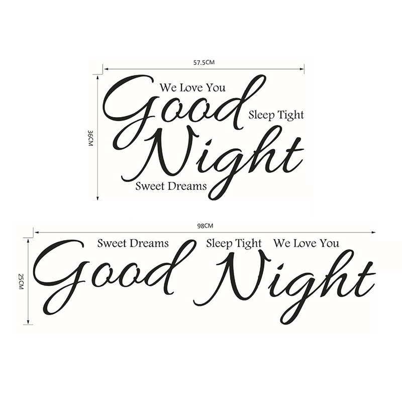good night removable vinyl wall stickers creative quote art decorativefor kids room lettering decal poster sofa