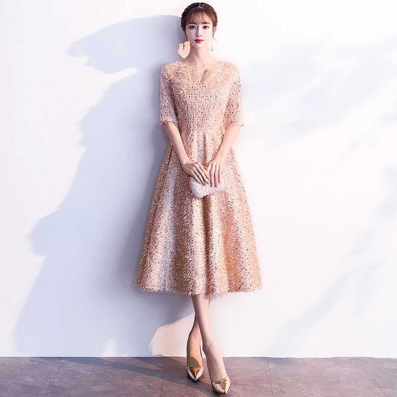 Evening Dress Female 2019 New Banquet Noble Gold Long Section Ladies Party Annual Meeting Dress Slim Long Sleeves