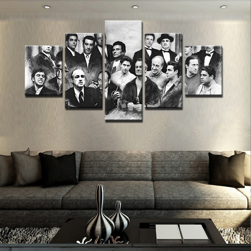 5 Pieces HD Printed Modern Canvas Paintings Home Retro Movie Characters Pictures Gangsters Poster Frames Decor Wall Art Prints image