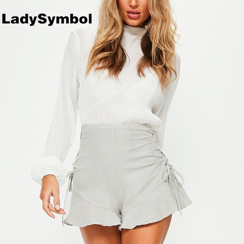 LadySymbol Ruffle Suede High Waist Shorts Women Summer 2017 Lace Up Back Zipper Short Femme Elegant