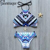 Janesamque Bandage Bikin Two Piece Bikini Suit Push Up Swimwear Low Waist Beachwear Halter Women Swimsuit