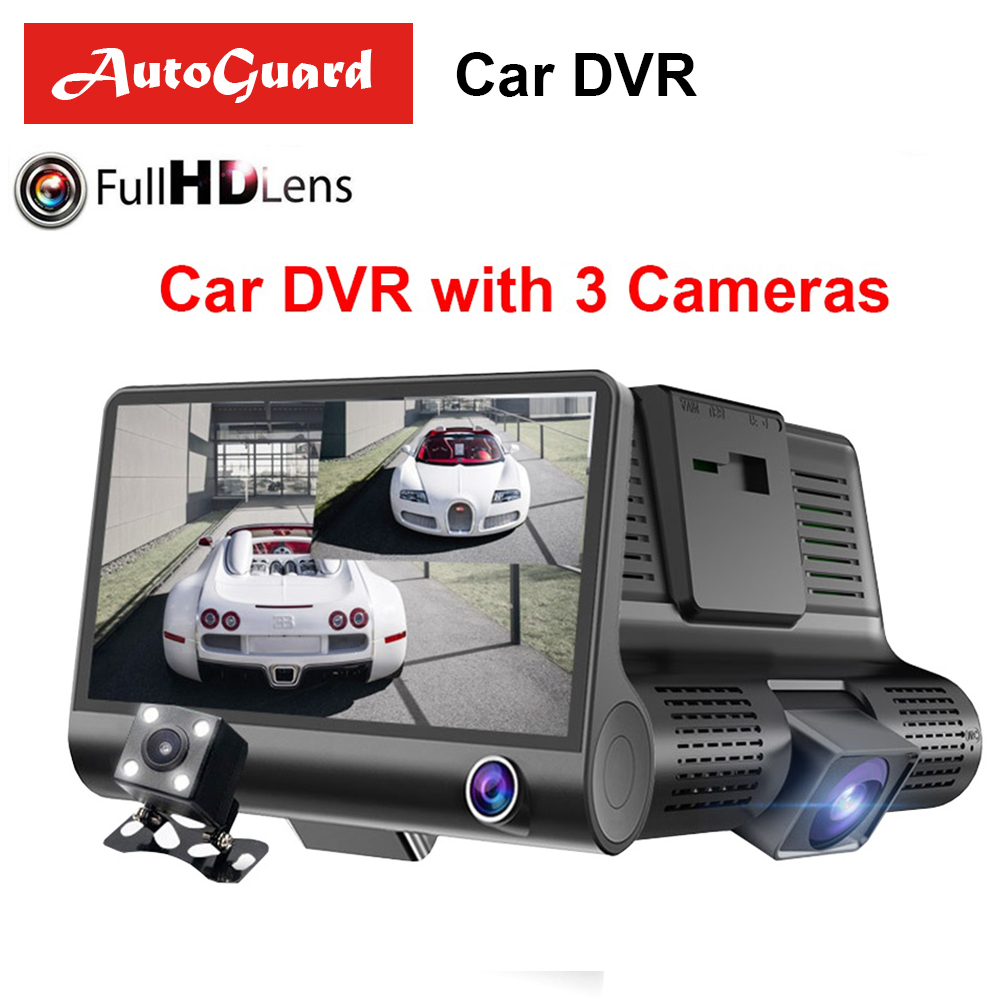 Car DVR Registrator Video-Recorder Rearview-Camera Dash-Cam Dual-Lens Auto 3