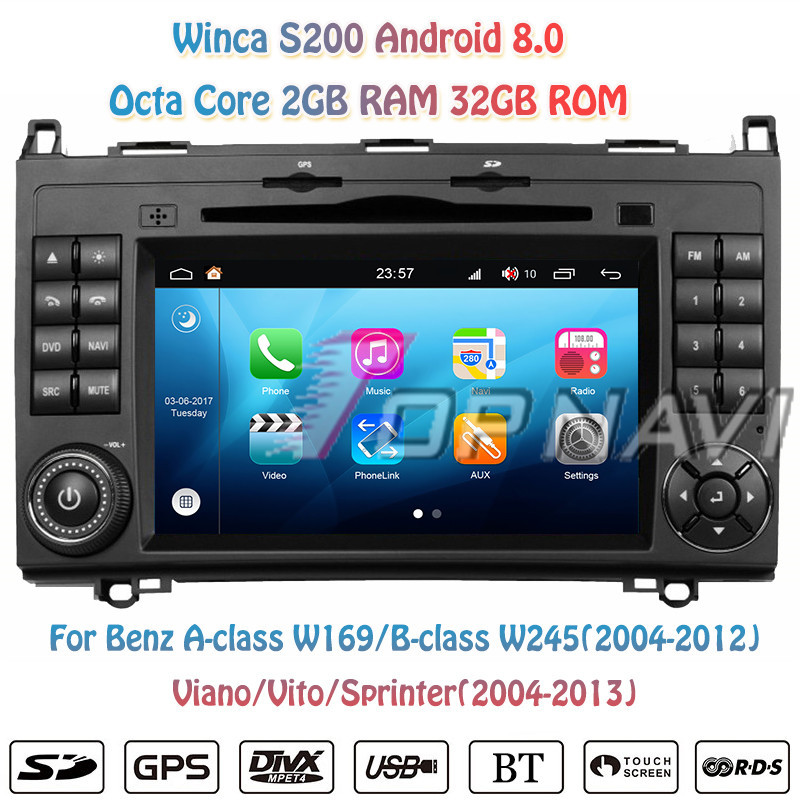 Topnavi 7'' Octa Core S200 Android 8.0 Car DVD Multimedia Player for A/B class For BENZ Audio Radio Stereo 2DIN GPS Navigation