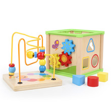 Wooden Early Educational Toys 5 in 1 Activity Cube Baby Early Learning Toy Time Clock Cognize