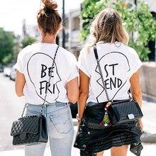 Hot Women Short Sleeve Best Friend Print Heart Love Casual T-Shirt BFF Tees New Arrival