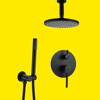 High quality Brass Black Shower Set Bathroom 8 Rainfall Shower Head Faucet Ceiling Shower Arm Diverter Mixer Handheld Spray Set