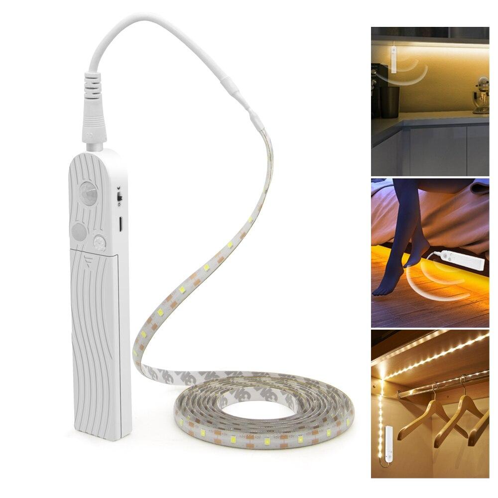 Светодиодная лампа для шкафа с датчиком движения 1 м 2 м 3 м под кроватью и лестницей, гардеробная лента, водонепроницаемая 5 В USB Светодиодная ...