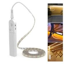 Fita led com sensor de movimento, 1m, 2m, 3m, para cama, para escada e guarda roupa, usb fita de armário de cozinha luz noturna, lâmpada