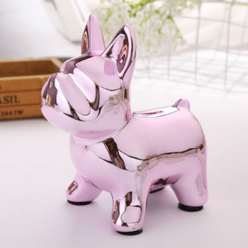 Tirelire Chien bulldog rose