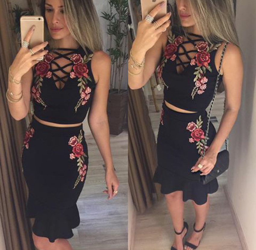 Lace Up Ruffles Hem 2 Piece Set Dress Fashion Women Embroidery Floral Sleeveless Hollow Out Mermaid
